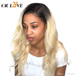 $enCountryForm.capitalKeyWord Australia - OKLove Full Lace Human Hair Wig with Baby Hair 1b#613 Blonde Ombre Color Body Wave Brazilian Remy Hair Wigs