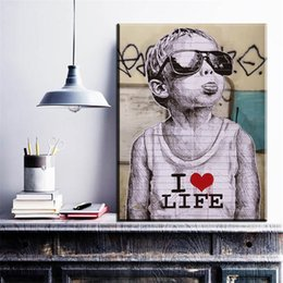 $enCountryForm.capitalKeyWord Australia - 1 Piece Black And White Smile Face Graffiti Street Art Prints Posters For Living Room Home Decor No Framed