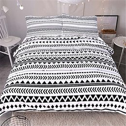 White Stripe Sheet Set Australia - 3pcs Comforter Bedding Set King Queen Size Luxury White Triangular Stripes Bed Duvet Covers Single Sheets Set Linen Home Textile