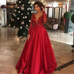 mother groom long satin dresses NZ - Vintage Dark Red Evening Dresses Pluning Neck Sheer Long Sleeve Lace Satin Prom Gowns Mother of Groom Dress Plus Size BC2423