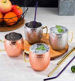 Wholesale Copper Mug Stainless Steel Beer Cup Moscow Mule Mug Rose Gold Hammered Copper Plated Drinkware dc561