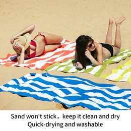 $enCountryForm.capitalKeyWord NZ - Microfibre Beach Towel Striped Printed Sport Yoga Towel Quick Dry Women Cover Ups Travel Soft Beachwear 70x90cm