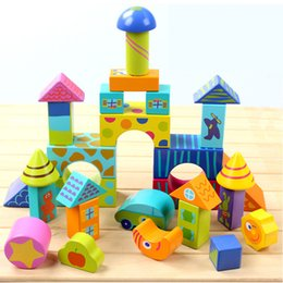 Large Housing Australia - 50pcs Large wooden colorful blocks Pile up stacking blocks Situational building block Play house bulding house Intelligent toys