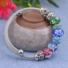 Stainless Steel Flowers Australia - 6pcs Designer Stainless Steel Wire Bracelets Fit Pandora Women Flower Murano Glass Beads Enamel Charms Silver Openwork Bangle Jewelry P150