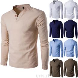 Linen Slim Shirts Australia - 2019 Fashion New Luxury Men's Slim Fit Shirt V-Neck Long Sleeve Causal Shirts Solid Shirts Linen Tops M-3XL