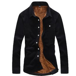 Army Thermal Shirt Australia - Fashion Casual Male Cheap Quality Winter Shirt Men Long Sleeve Thermal Warm Velvet Padded Mens Clothing Camisa Masculina