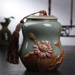 Porcellana contenitore ceramico del barattolo della scatola metallica di stoccaggio del tè del carrello del tè del loto della zucca del barattolo in Offerta