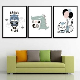 $enCountryForm.capitalKeyWord Australia - Watercolor Picture Wall Art Cartoon Cute Animal Posters And HD Prints Nordic Canvas Painting Abstract Wedding Decoration