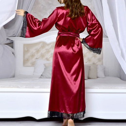 hot lingerie kimono 2019 - KLV #ZG4 NEW HOT FASHION 2019 Free Ship Women Sexy Long Silk Kimono Dressing Gown Bath Robe Babydoll Lingerie Nightdress