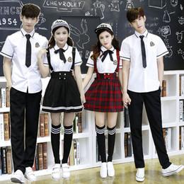 fe3362050 Korean School Uniform Girls Jk Navy Sailor Suit For Women Japanese School  Uniform Cotton White shirt + Plaid Straps Skirt C18122701
