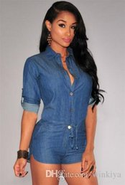 $enCountryForm.capitalKeyWord Australia - Jeans Jumpsuit Romper 2015 Fashion Women Short Bodycon Denim Jumpsuits Summer Style V Neck Long Sleeve Sexy Club Wear Jumpsuits