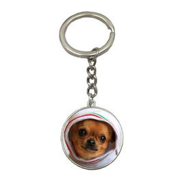 $enCountryForm.capitalKeyWord Australia - Chihuahua Cute Dog DIY Silver Chain Keychain Handmade Glass Dome Pendant Key Ring Car Key Chain Best Gift For Friend