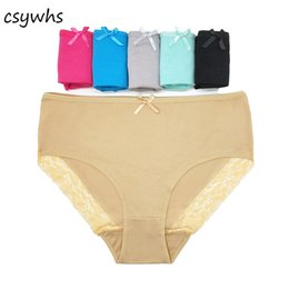 82e258eed CSYWHS Plus Size Women Panties Cotton Lace Briefs High Waist Elastic Panty  Sexy Lady Underwear Underpants for Girls 6pcs 2xl-4xl