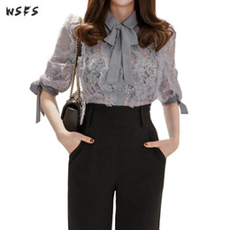 Sexy Office Suits Australia - 2 Piece Set Spring Grey Lace See Through Blouses Tops Business Office Women Suits Ladies Sexy Black Wide Leg Ninth Pants Trouser