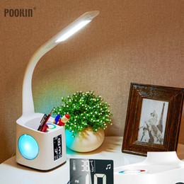 $enCountryForm.capitalKeyWord Australia - Led Eye Protect Dimmable Desk Lamp Led Foldable Reading Table Lamp Light Rgb Touch Control Calendar Alarm Clock Temperature Lamp