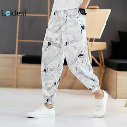 $enCountryForm.capitalKeyWord Australia - LOLDEAL Chinese Style Summer Crane Printed Leisure Pants Men Loose Lantern Pants Bottom Chinos