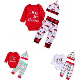christmas clothes Australia - INS Baby Girl Clothes Christmas Infant Girl Letter Romper Pants Hat 3pcs Set Long Sleeve Newborn Girl Bodysuits Xmas Baby Clothing DW4826