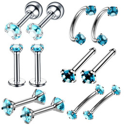 labret stud tragus Australia - Ybollar 12pcs lot Stainless Steel Labret Lip Stud Ring Tongue Crystal Zircon Nose Hoop Piercing Ear Cartilage Tragus Jewelry