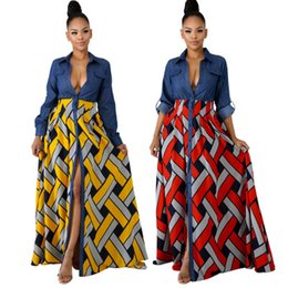 long sleeve polo summer UK - Spring and Summer Women's Printed Panelled Dresses,Fashion Elegant Jean Patchwork Long Dress,Polo Neck long Sleeve Skirts