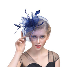 China Bridal hats Feather Fascinator Hair Bridal Birdcage Veil Hat Wedding Hats Fascinators Cheap Femin Hair Flowers For Wedding Party cheap hat feathers veil suppliers