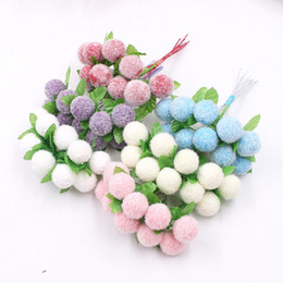 Fake Flowers For Crafts Australia - 10Pcs lot Velvet Foam Bayberry Artificial Flowers for Wedding Party Decoration DIY Handmade Craft Gift Wreath Berry Fake Flowers