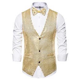 gold fashion men suit Australia - 2019 Fashion Men Vests Suits Slim Sequins Gold Colorful Dj Stage Men Sequins Vests Free Shipping Plus Size S-2XL