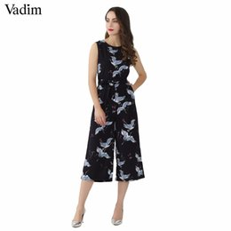 cute casual jumpsuits UK - Vadim Women Cute Crane Print Jumpsuit Sashes Pockets Sleeveless Pleated Rompers Ladies Vintage Casual Jumpsuits Kz1016 Q190507