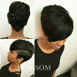rihanna human hairs 2019 - New Arrival Rihanna Hairstyle Human Hair Wig Straight Short Pixie Cut Wigs For Black Women Full Bob Hair Wigs Beauty Blo