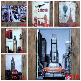 Home Painting Designs Australia - Metal Tin Signs Vintage Building Wall Poster Iron Plate Painting Bar Club Pub Home Decor 6 Designs Wholesale YW3574