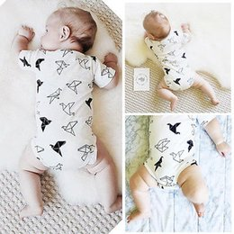bird lanterns UK - Infant Newborn Baby Girls Boy Origami Birds Rompers Jumpsuit Baby Clothes 0-24M White