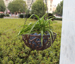 $enCountryForm.capitalKeyWord Australia - Cast Iron Hanging Baskets Round Wall Garden Patio Flower Pot Holder Plant Planter Holder Heavy Metal Outdoor Indoor Balcony Hanger Vintage