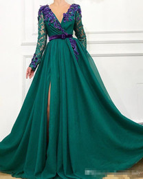 EvEning wEar satin short gowns online shopping - 2019 Sexy dark green evening dresses long sleeve lace robe de soiree Fashion V neck Flowers Front split A L Prom Party Gowns