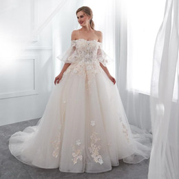 3d dress NZ - 2019 Real Image Fairy Off The Shoulder Wedding Dresses Short Sleeve Lace Up Back 3D Flora Appliques Sweep Train Church Arabic Style Bridal