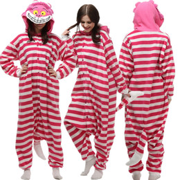 cheshire cosplay costume NZ - Adult Polar Fleece Cosplay Cheshire Cat Costume Cartoon Animal Onesie Pajama Halloween Carnival Masquerade Party Jumpsuit