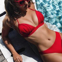 $enCountryForm.capitalKeyWord NZ - 2019 Sexy Bikini Push Up Swimsuit Swimwear Women Brazilian Swimming for Halter Solid Brazilian Bikinis Set Thong Bathing Suit