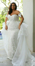 fat lady shorts Canada - 2019 Plus Size Wedding Dresses off the shoulder Bridal Gowns Custom Made For Fat Women Lady Lace Appliques Overskirt Wedding Dress