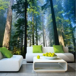 nature print paper Australia - Papel Murals Forests Wallpaper Nature Fog Trees 3d Wall Photo Mural forest Wall paper for Background Bedroom 3D Murals