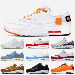 max leather shoes women Canada - Just X Atmos Maxes 1 Cushions Running Shoes For Men Women Parra Anniversary Red Royal Obsidian Animal Pack White Air Trainers Sport Sneaker