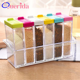 seasoning kitchen NZ - 6pcs set Spice Jar Seasoning Plastic Condiment Bottles Sugar Salt And Pepper Shakers Jars Spices Box Container Kitchen Tools SH190628