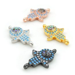 $enCountryForm.capitalKeyWord Australia - 20*12*3mm Micro Pave Kallaite&Clear CZ Gridding Abalone Shell Hand Connectors Fit For Making Bracelets Jewelry