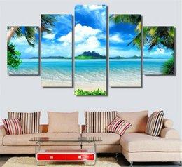 $enCountryForm.capitalKeyWord NZ - Strand Blauen Himmel Palm Trees,5 Pieces Home Decor HD Printed Modern Art Painting on Canvas (Unframed Framed)