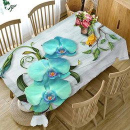 round flower table cloth NZ - Table Cloth Thicken Rectangular And Round Tablecloth Waterproof Dustproof 3d Digital Printing Magnolia Flower Home Textile