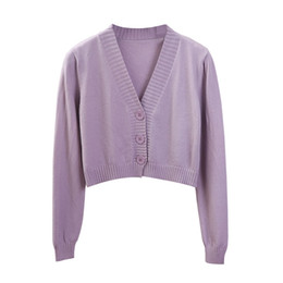 Wholesale cropped sweaters for sale - Group buy Women s Cropped Cardigan Sweaters Female Black White Short Sweater V Neck Single Breasted Sweater Woman Knitted Cardigan
