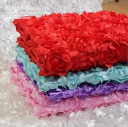 $enCountryForm.capitalKeyWord Australia - Wholesale-Rosette Fabric 3d flower satin fabricTablecloth Backdrop mat Wedding Celebration Evening graduation birthday Party decoration