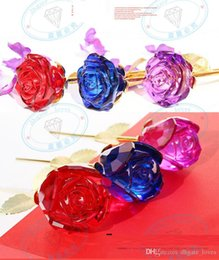 $enCountryForm.capitalKeyWord Australia - Luxury Crystal Rose Valentines Gift Noble 5 Color Long Stem Flower for Decoration Romantic Wedding Gift Party Supplies HOT