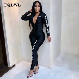 $enCountryForm.capitalKeyWord Australia - Fqlwl Long Sleeve Black Bodycon Female Jumpsuit For Women Playsuit Letter Print Zipper Skinny Rompers Womens Jumpsuit Overalls J190622