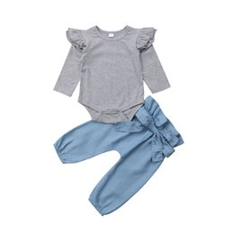 ec327cec5 0-24M Cute Newborn Baby Girl Fly Long Sleeve Cotton Bodysuit Grey  Tops+Denim Pant Trouser 2PCS Outfits Baby Clothing Set Y18120801
