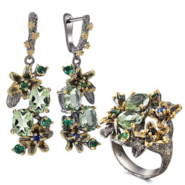TibeT Tea online shopping - Pretty Neaklace Earrings pc Set Big Tea drop Olivine Stone Jewelry Sets Color Crystal Party Jewellery for Women