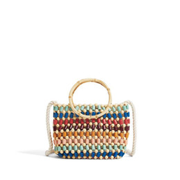 $enCountryForm.capitalKeyWord NZ - Colorful beads woven beach bags color hand pearl shoulder bag straw Crossbody bag women summer high-end fashion wood bohemian small handbag