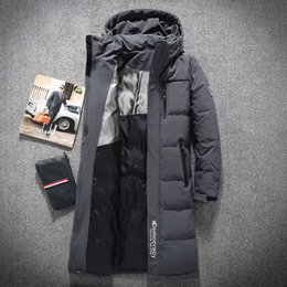 700a3ae1677 Mens Hooded Extra Long Duck Down Padded Jackets Man Thick Winter Down Coats  Male Fashion Long Overcoat Keep Warm Outerwear 8005